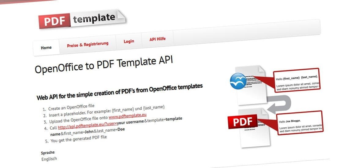 PDFTemplate API Screenshot