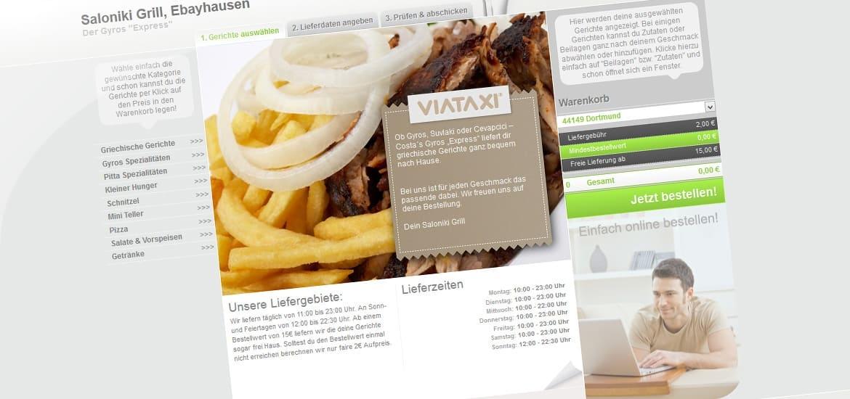 Webseite des VIATAXI Bestellservice