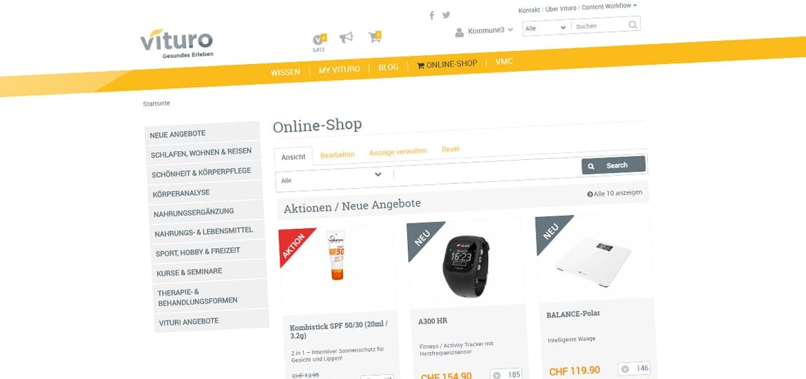Screenshot Vituro Online-Shop